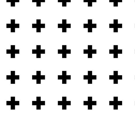 470x403 Large Swiss Cross Black On White Fabric