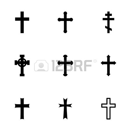 450x450 Vector Black Crosses Icon Set On White Background Royalty Free