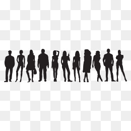 260x260 Vector Crowd Silhouettes, Rain Crowd, Business People, Airport