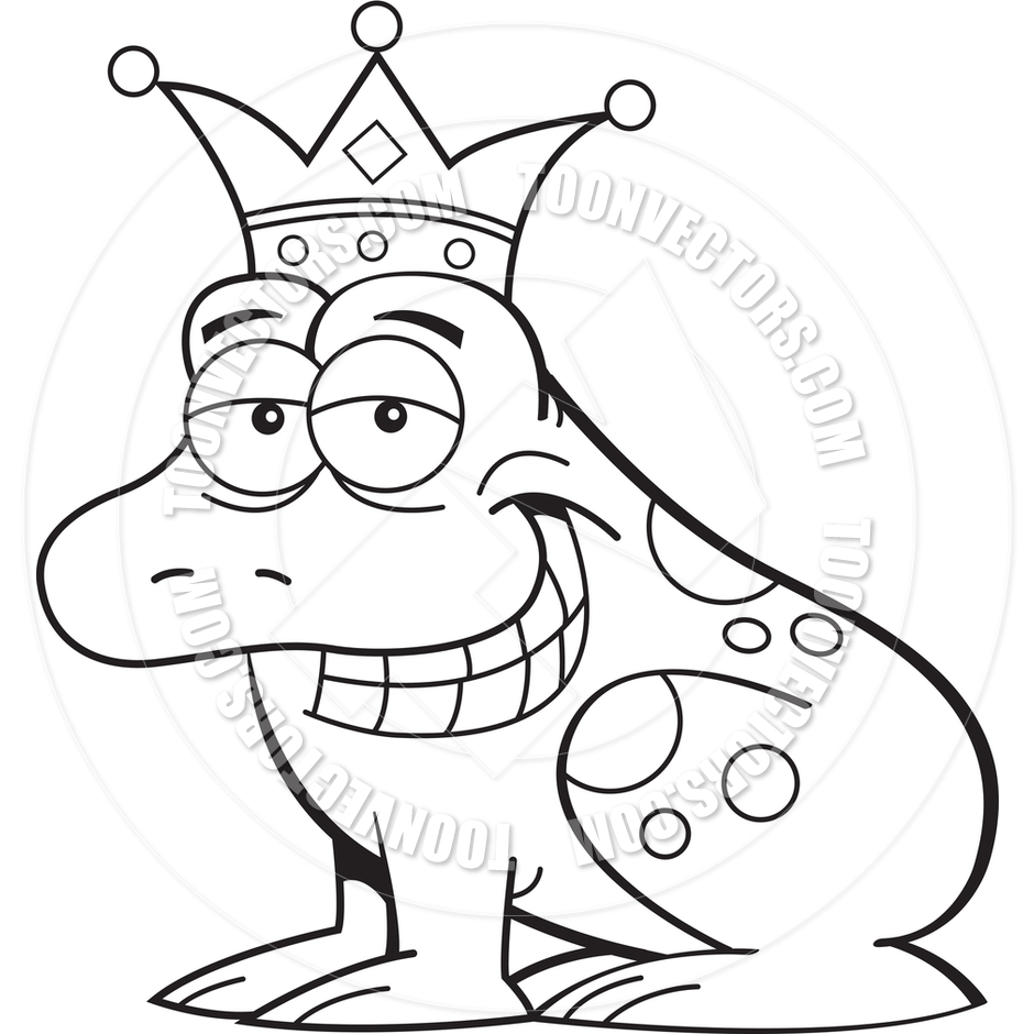 940x940 Cartoon Frog Prince Wearing A Crown (Black And White Line Art) By