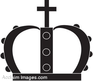 300x261 Clip Art Illustration Of A Crown Topped With A Cross