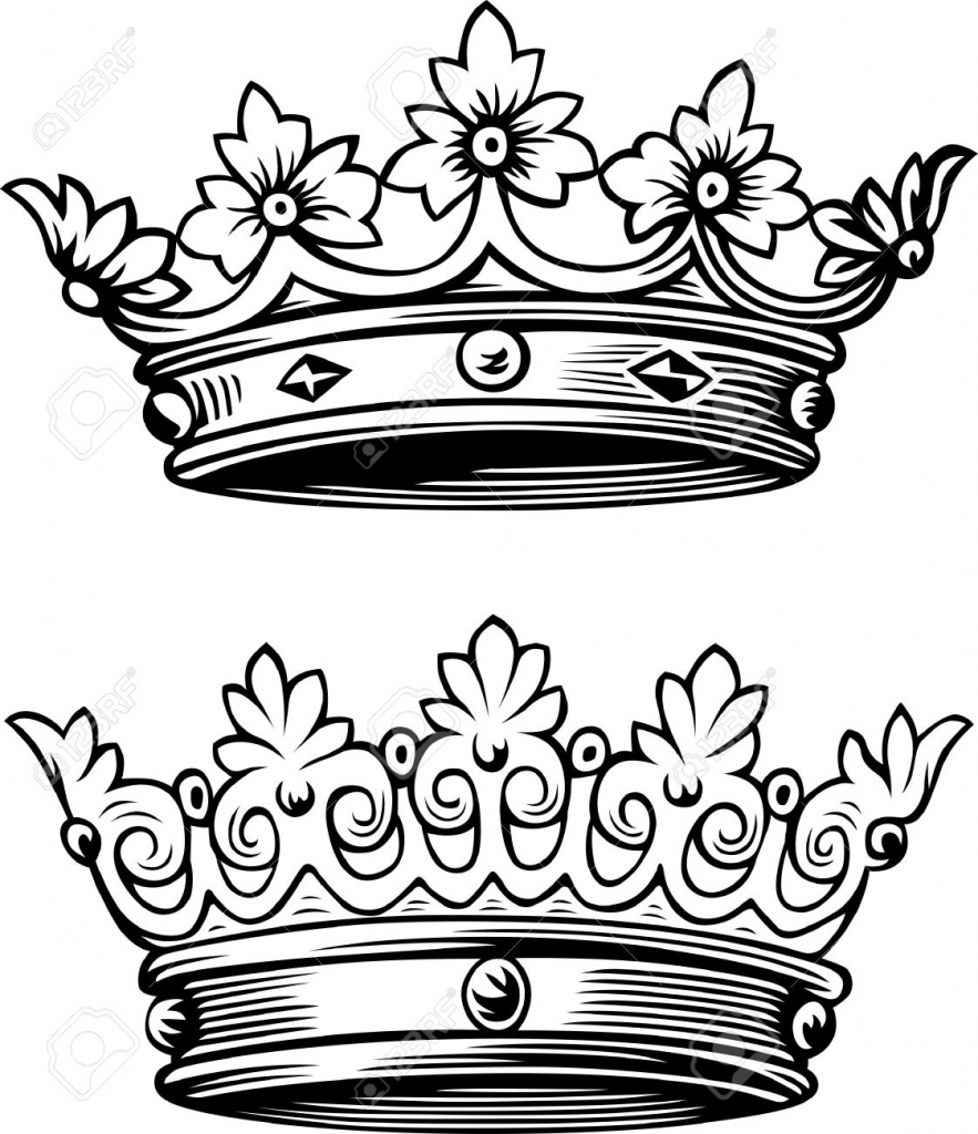 883x1024 King Crown Drawing Two Beautiful Crowns Royalty Free Cliparts