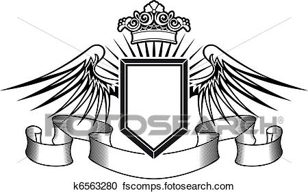 450x282 Clipart Of Heraldry Shield With Angel Wings And Crown K6563280