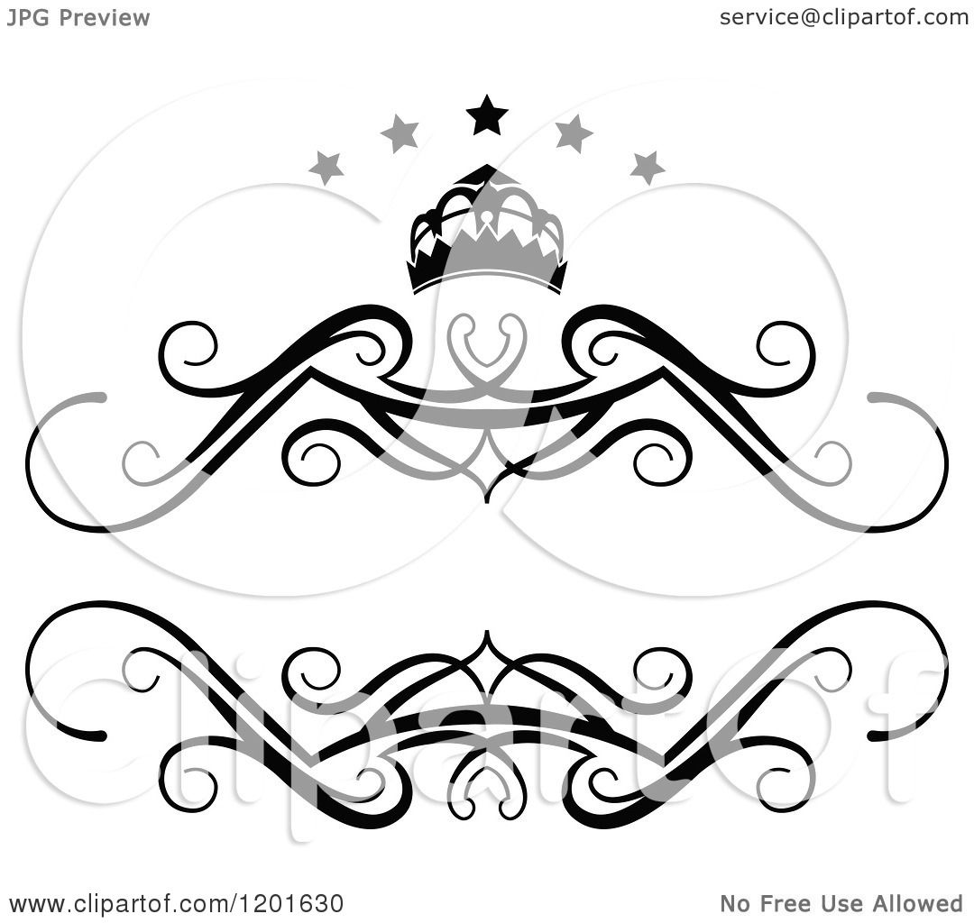 1080x1024 Clipart Of A Vintage Black And White Frame With A Crown And Stars
