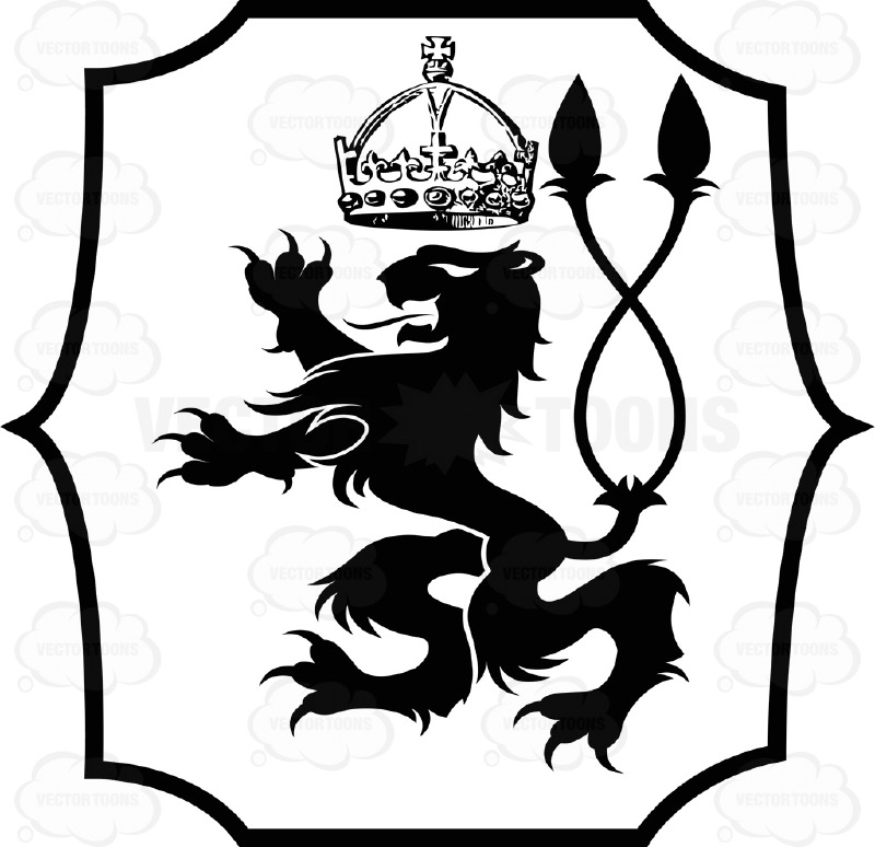 800x774 Black And White Rearing Lion With Dual Twisted Tail And Crown