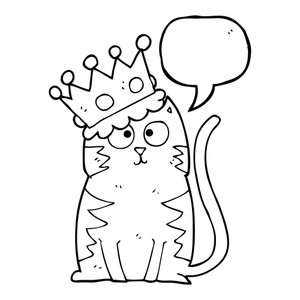 300x300 Freehand Drawn Black And White Cartoon Cat With Crown Royalty Free