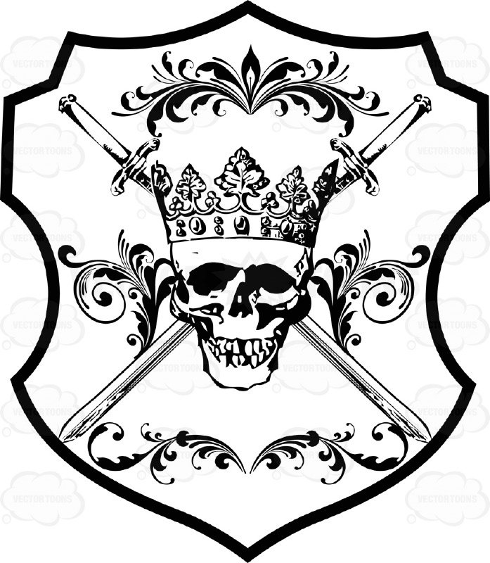 697x800 Black And White Skull Wearing A Cornet Crown And With Two Cross