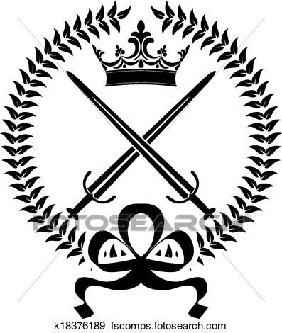 397x470 Clip Art Of Royal Emblem With Crossed Swords K18376189