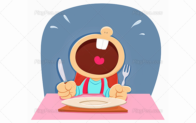 792x497 Download Vector Clip Art Of A Hungry Child Crying On Dining Table