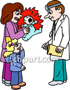 233x300 Baby With Mother And Sister At Pediatrician Royalty Free Clipart