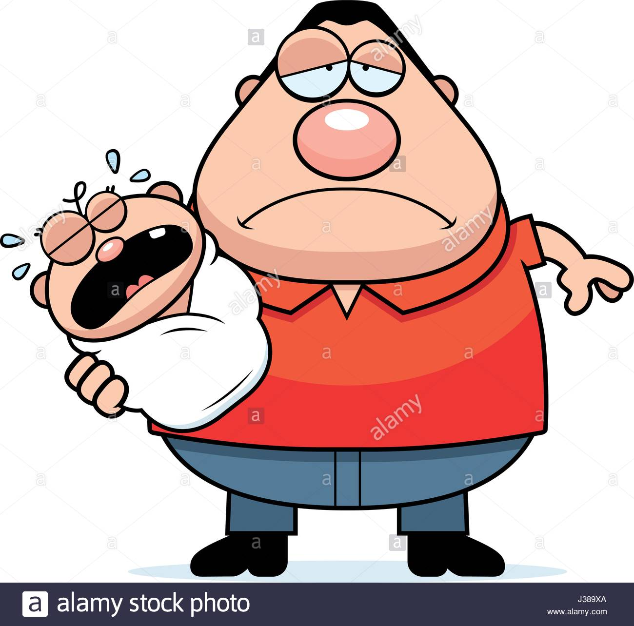 1300x1284 A Cartoon Illustration Of A Dad With A Crying Baby Looking Tired