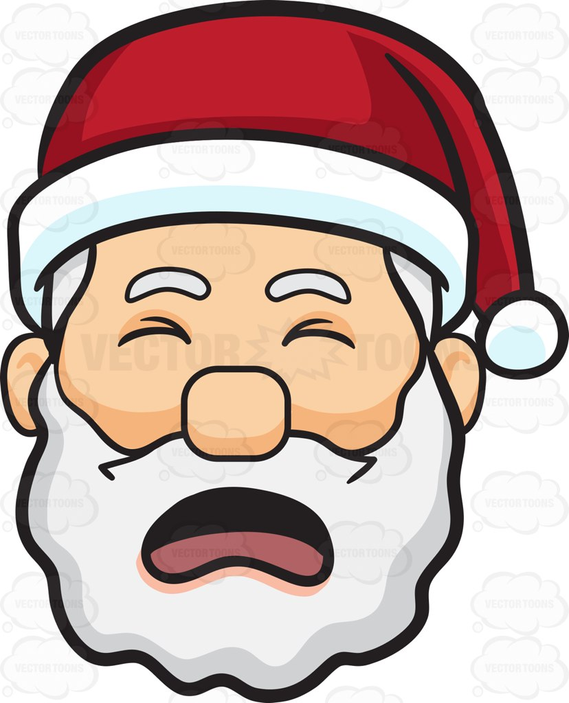 828x1024 A Crying Face Of Santa Claus Cartoon Clipart