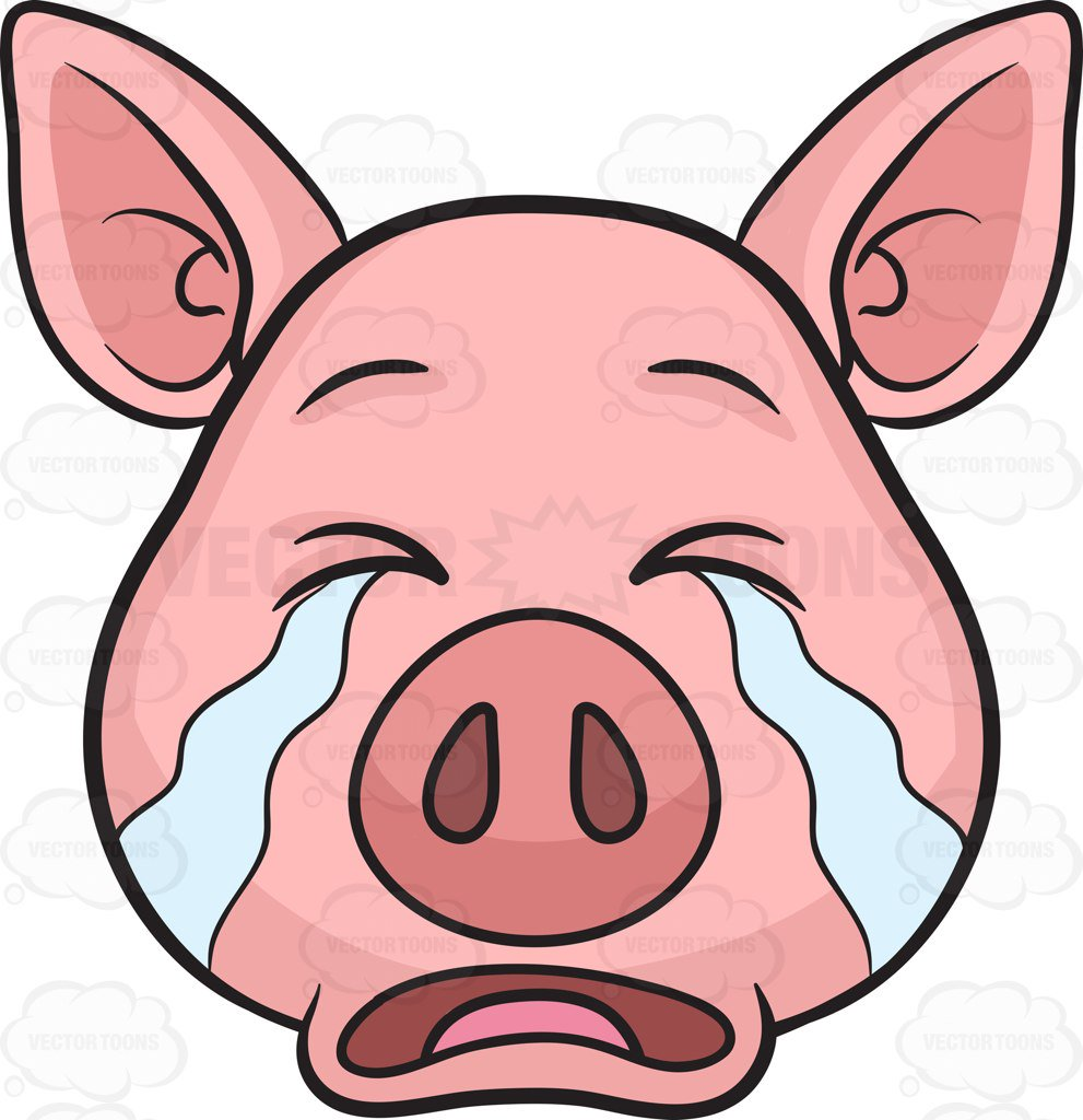 991x1024 A Pig Weeping In Tears Cartoon Clipart