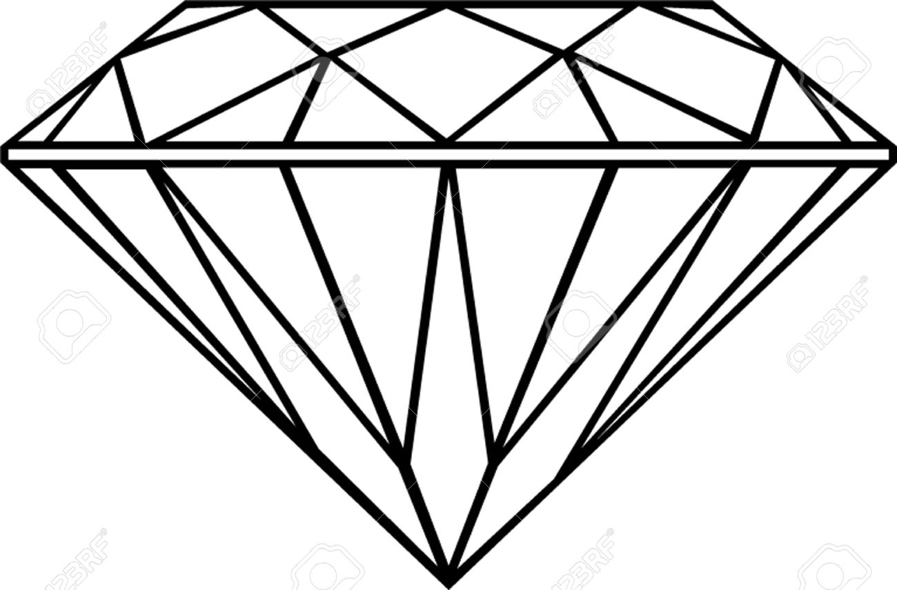 1300x855 Crystal Clipart Diamond Outline
