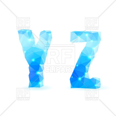 400x400 Crystal Style Y And Z Letters Royalty Free Vector Clip Art Image