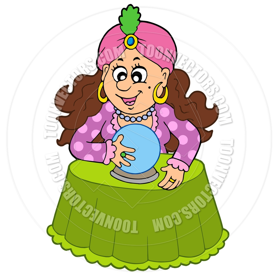 940x940 Cartoon Fortune Teller With Crystal Ball By Clairev Toon Vectors