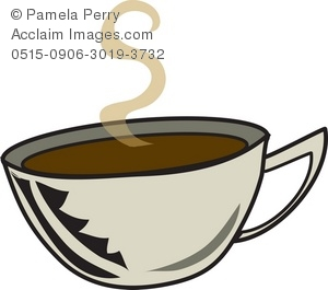 300x265 Art Illustration Of Steaming Cup Of Coffee