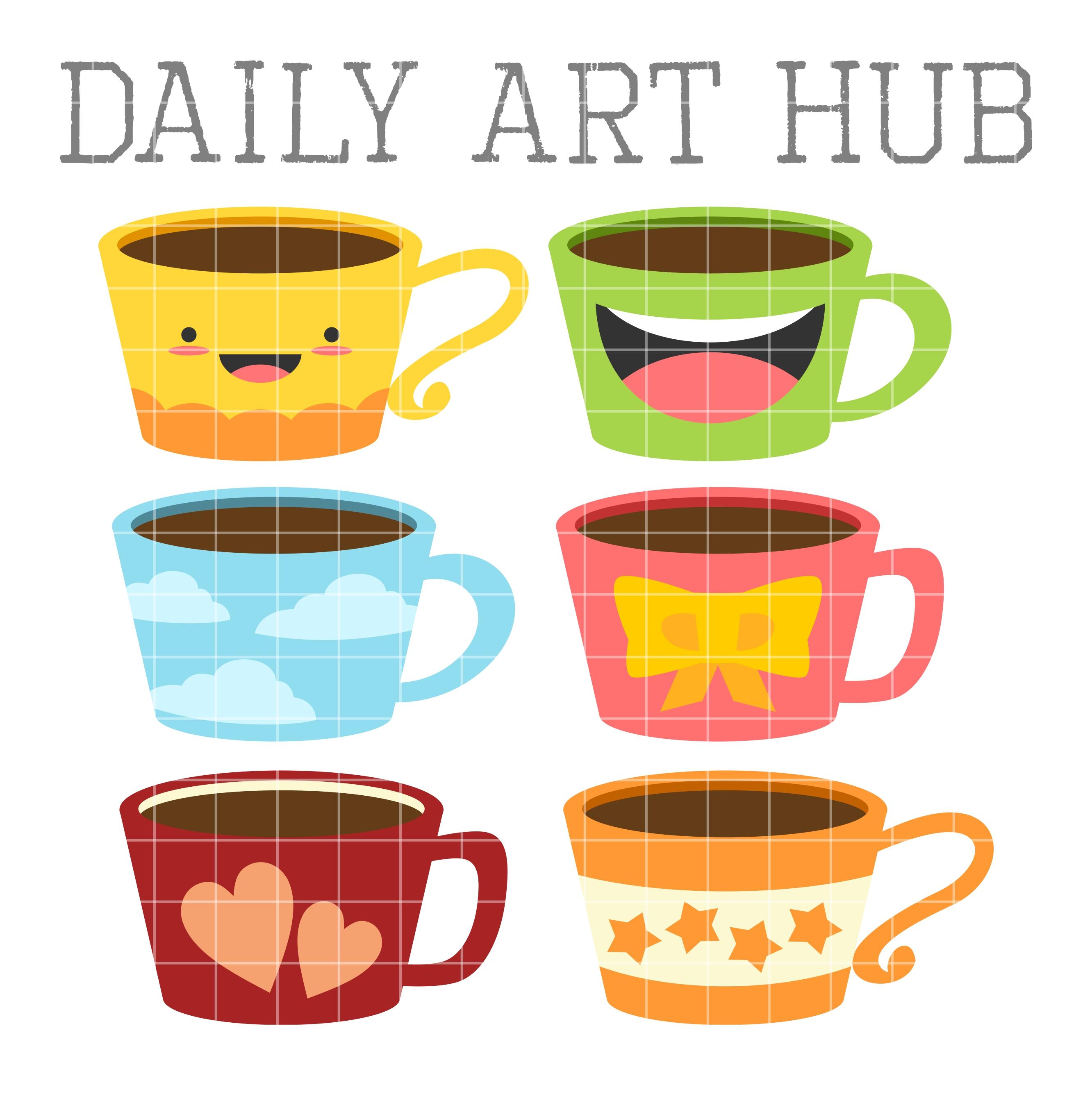 2664x2670 Cute Coffee Mugs Clip Art Set Daily Art Hub