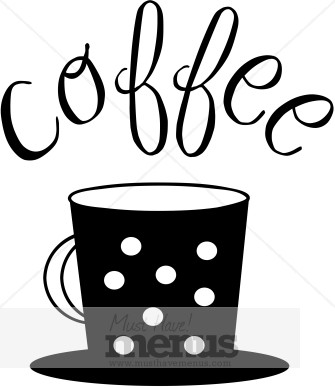 335x388 Polka Dot Coffee Cup Typography Coffee Clipart