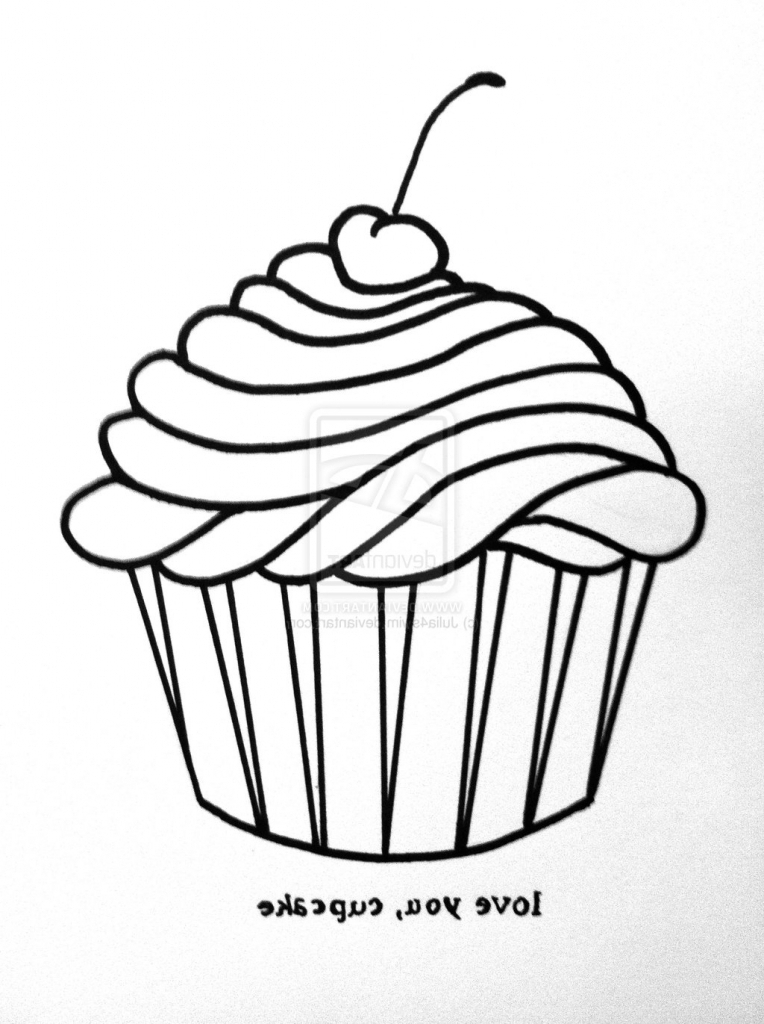 764x1024 A Drawing Of A Cupcake How To Draw A Cupcake Cupcake Clipart