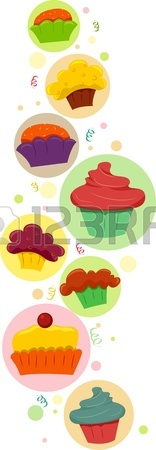 156x450 Shiny Happy Set Of Cupcakes. Stock Photo, Picture And Royalty Free