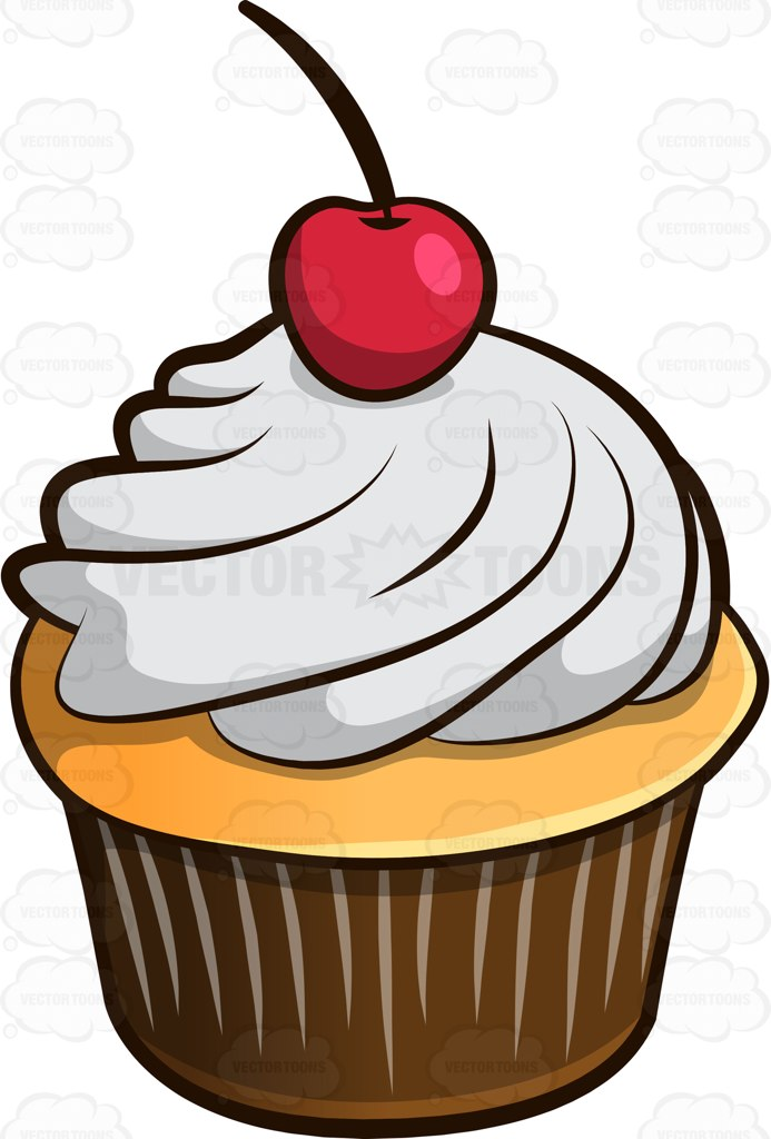693x1024 A Sweet Cupcake With Cherry On Top Cartoon Clipart