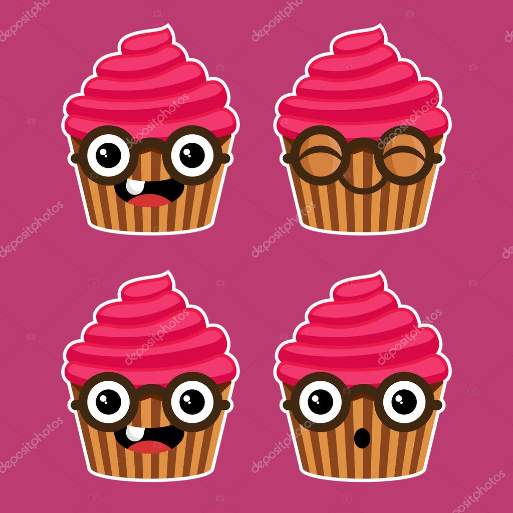 1024x1024 Cartoon Cupcakes With Eyeglasses Stock Vector Mictoon