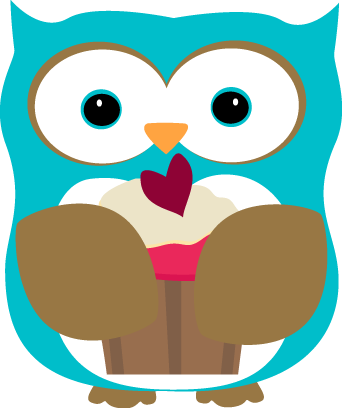 342x408 Owl Eating A Cupcake Clip Art