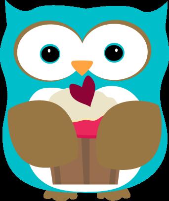 342x408 Owl Eating A Cupcake Clip Art
