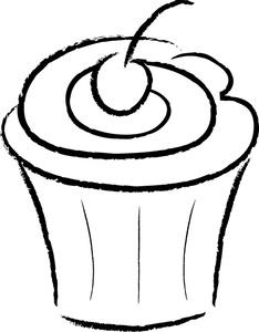 234x300 Free Cupcake Clip Art Black And White Clipart Panda