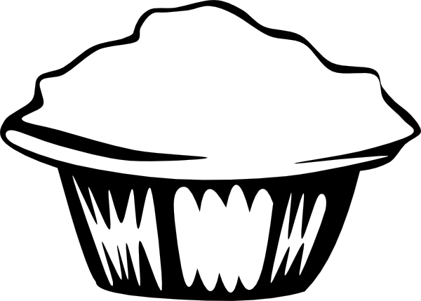 600x429 Muffin Black White Clip Art