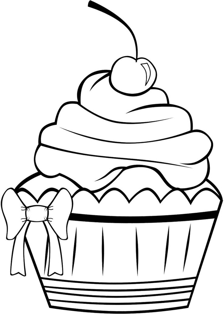 736x1068 Cupcake Clipart Coloring Page