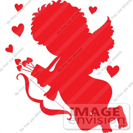 450x450 Clip Art Grapic Of Cupid Flying With Hearts, Arrows And A Bow