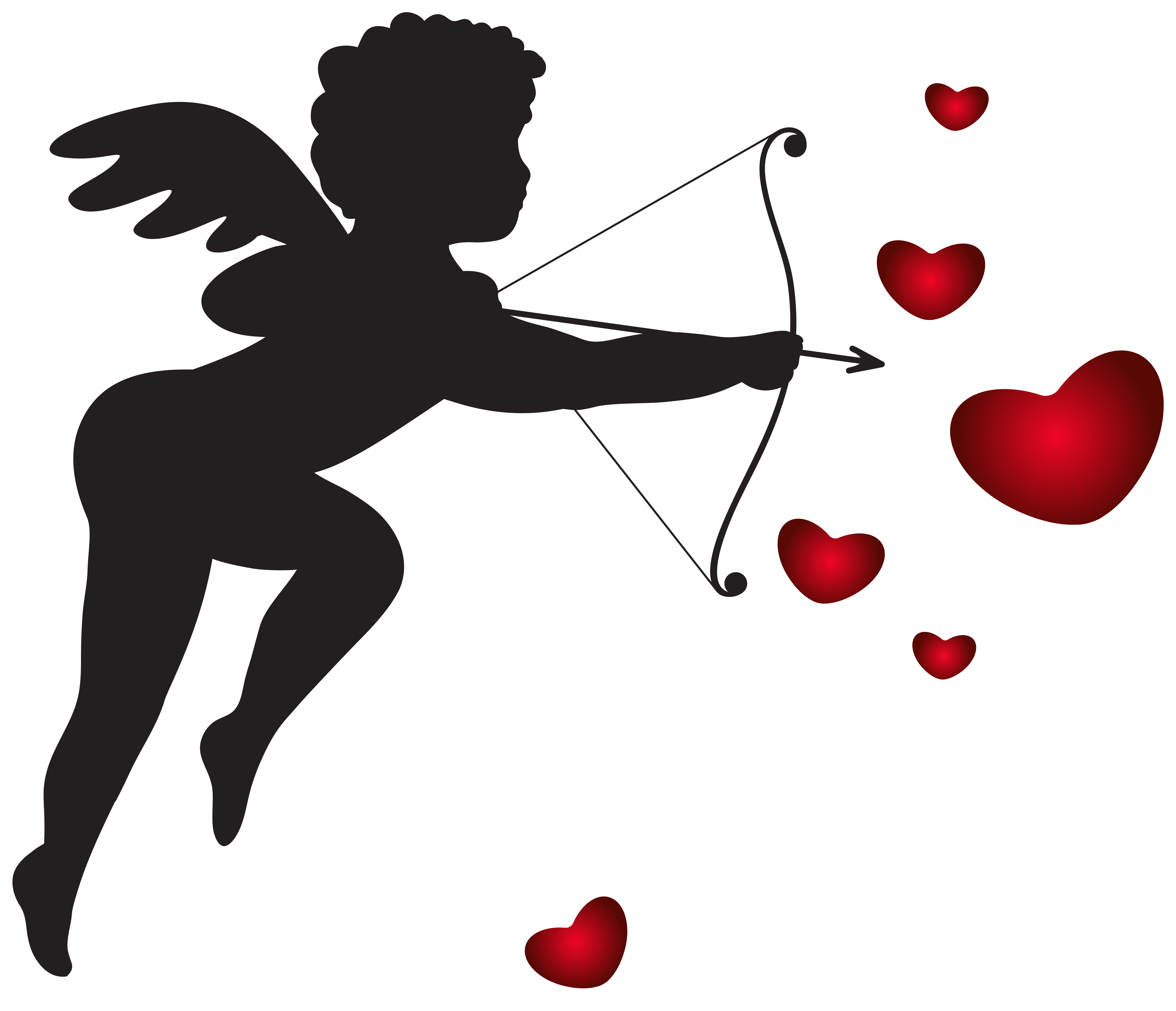 8000x6881 Cupid With Bow And Hearts Transparent Png Clip Art Imagu200b Gallery