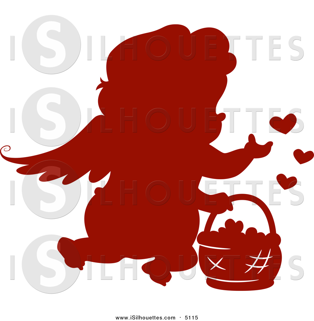 1024x1044 Clipart Of A Silhouetted Red Cupid With A Basket Of Hearts By Bnp