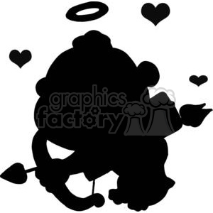 300x300 Royalty Free Black Silhouette Of A Cupid With Halo And Hearts