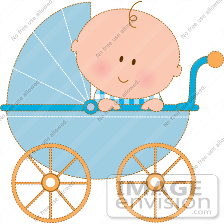 450x450 Clipart Of A Curious Baby Boy In A Blue Carriage, Peeking Over