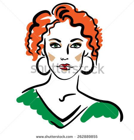 450x470 Red Hair Clipart Curly Hair