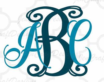 340x270 Svg Monogram Font Vine Interlocking Monogram Svg Dxf