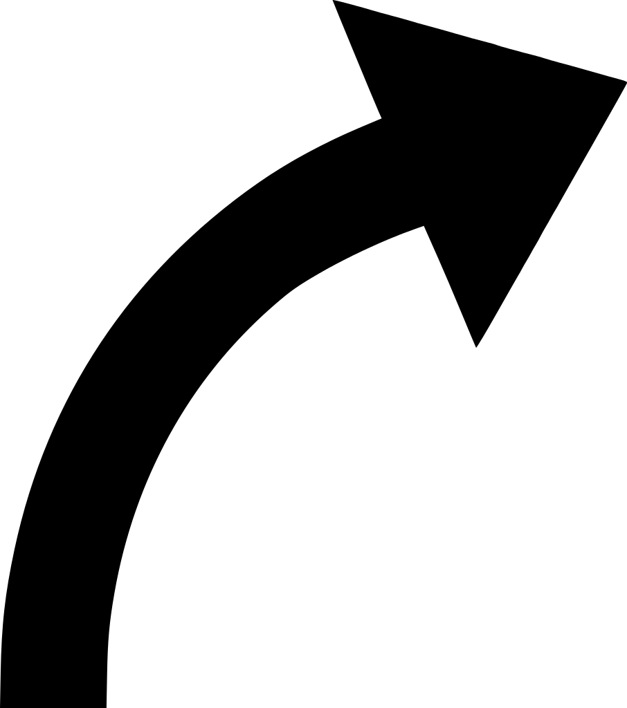 906x1024 Black Curved Arrow Clipart