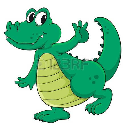 442x450 Cute Cartoon Crocodile On White Royalty Free Cliparts, Vectors