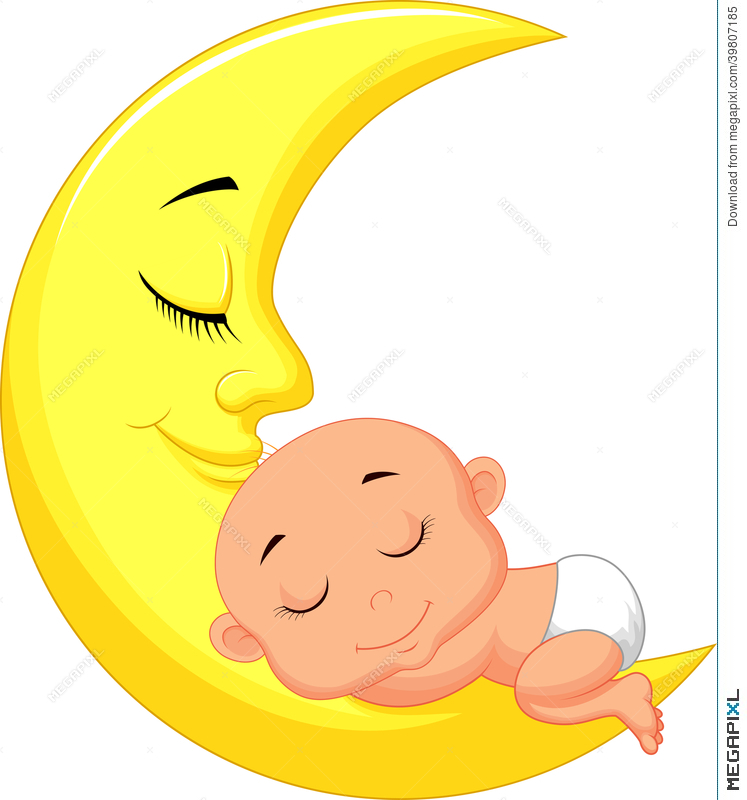 747x800 Cute Baby Cartoon Sleeping On The Moon Illustration 39807185