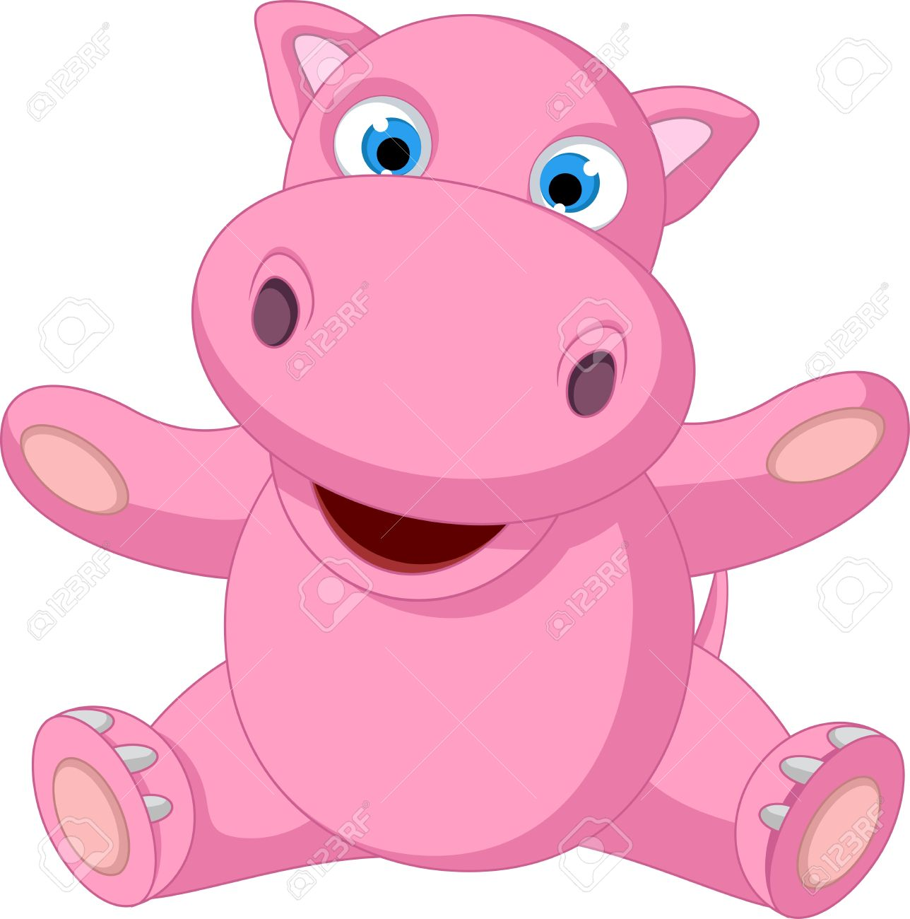 1288x1300 Cute Baby Hippo Cartoon Sitting Royalty Free Cliparts, Vectors