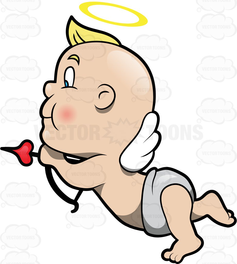921x1024 A Cute Baby Cupid Flying To Shoot An Arrow Of Love Cartoon Clipart