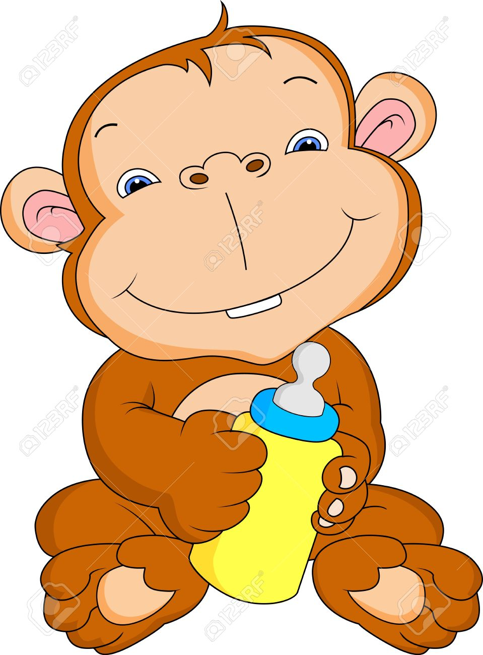 959x1300 Cute Baby Monkey Cartoon Royalty Free Cliparts, Vectors, And Stock