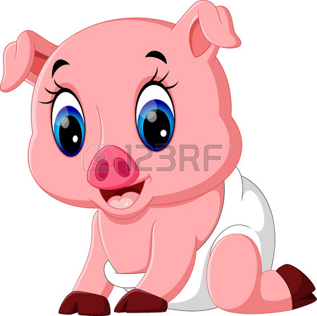 450x449 Illustration Of Cute Baby Pig Cartoon Royalty Free Cliparts