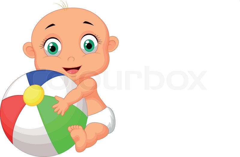 800x525 Vector Illustration Of Cute Baby Cartoon Holding Colorful Ball