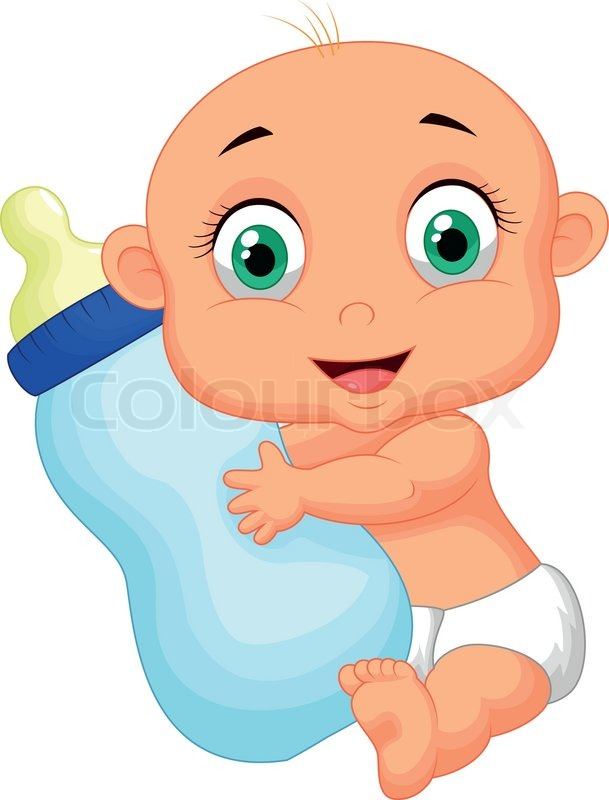609x800 Vector Illustration Of Cute Baby Cartoon Holding Milk Bottle