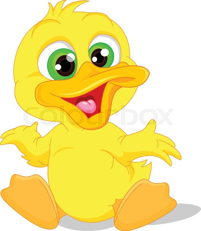 697x800 Vector Illustration Of Cute Baby Duck Cartoon Stock Vector