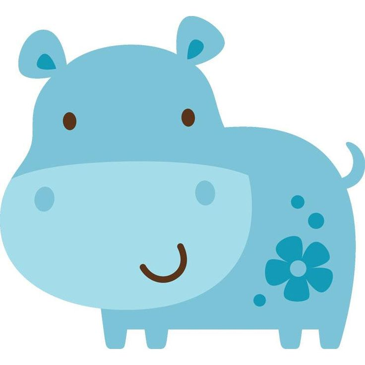 Cute Baby Hippo Cartoon Clipart